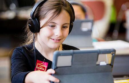 5th Grade Girl on iPad
