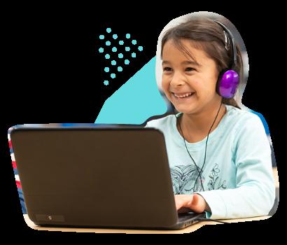 Smiling Girl Using Laptop