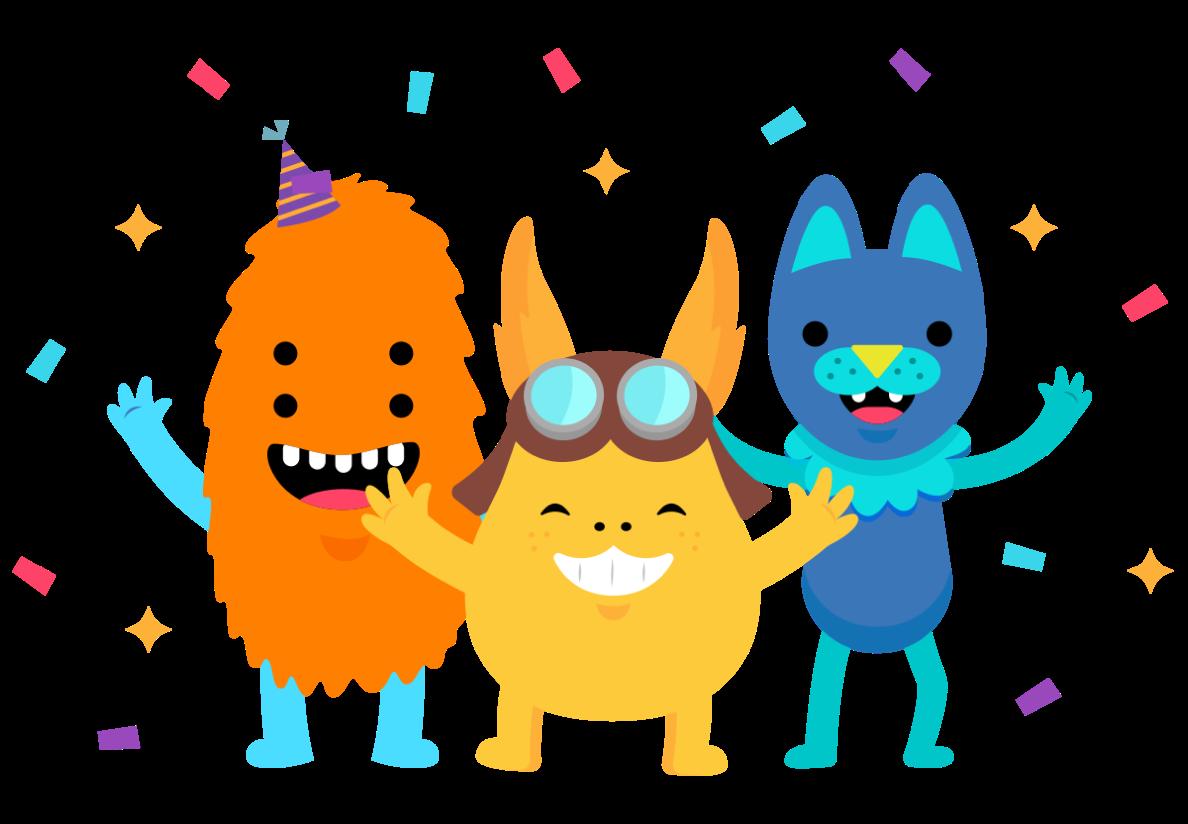 eSpark monsters celebrating